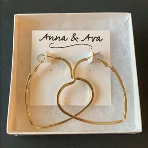 NWT Heart Hoop Earrings